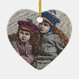 Winter Sisters Ceramic Ornament