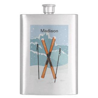 Winter Skiing custom name flask