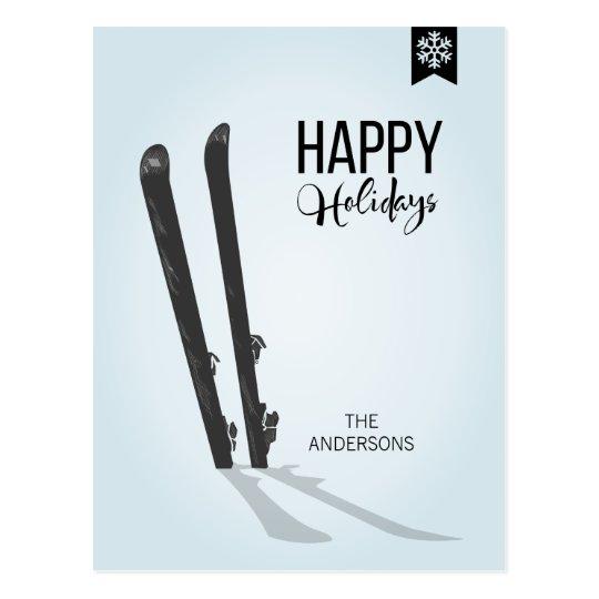 Winter Skiing Happy Holidays Christmas Postcard