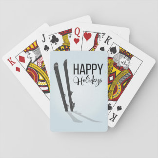 Winter Skiing Happy Holidays Playing Cards