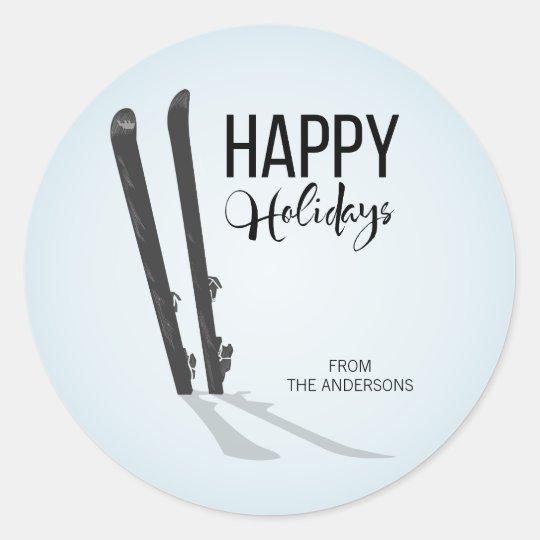 Winter Skiing Happy Holidays Round Stickers