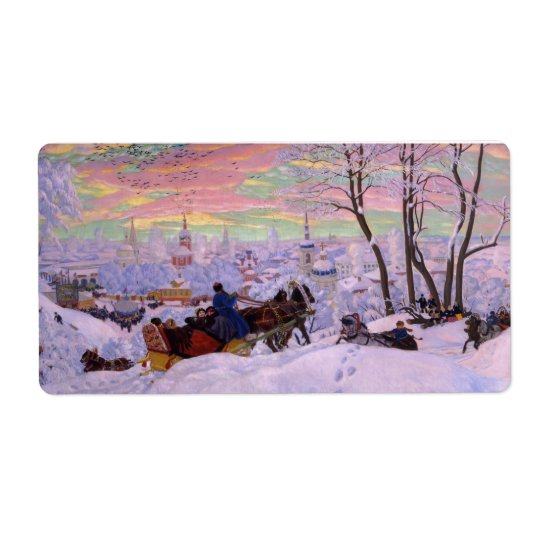 Winter Sleigh - Shrovetide Holiday Shipping Label