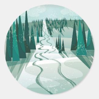 Winter Slope Classic Round Sticker