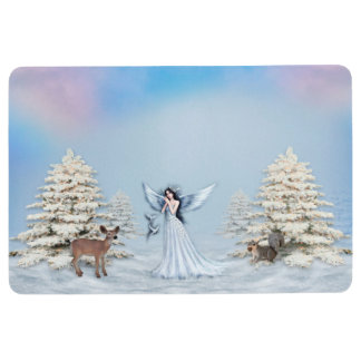 Winter Snow Angel Floor Mat