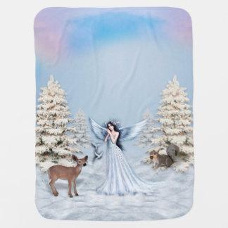 Winter Snow Angel Scene Baby Blankets
