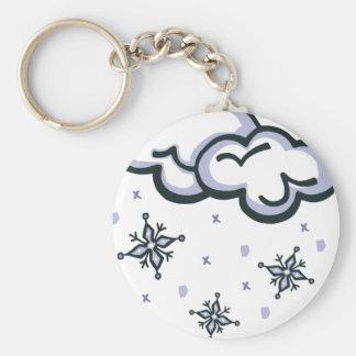 winter snow basic round button keychain