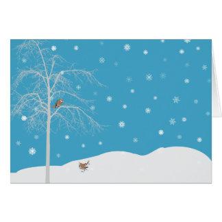 Winter Snow Bird Tree Blank Notecard