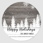 Winter snow brown wood Christmas Holiday Classic Round Sticker