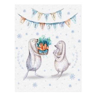 Winter Snow Bunnies Merry Christmas Postcard