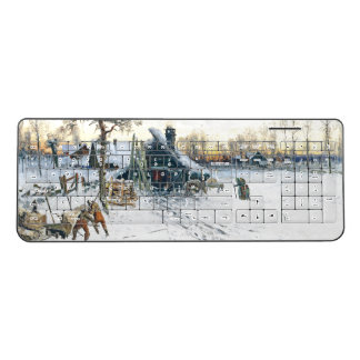 Winter Snow Country Cabin Woods Wireless Keyboard