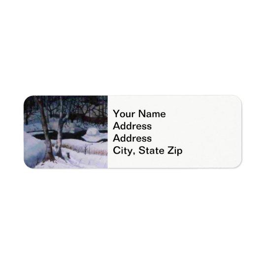 Winter snow covered elk river, snow drifts . return address label
