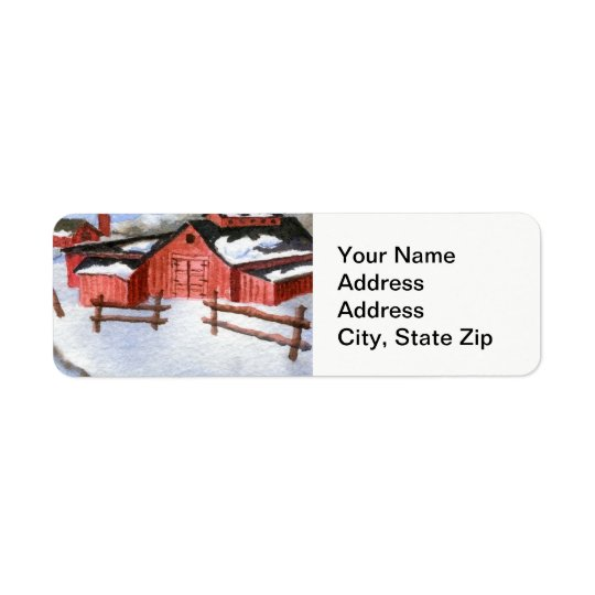 Winter snow covered red barn, farm shed landscape.