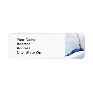 Winter snow covered stream single  straw. return address label