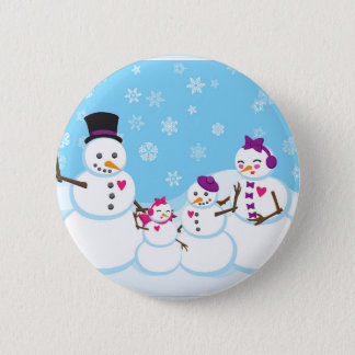 Winter Snow Family 2 Inch Round Button