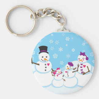 Winter Snow Family Keychain