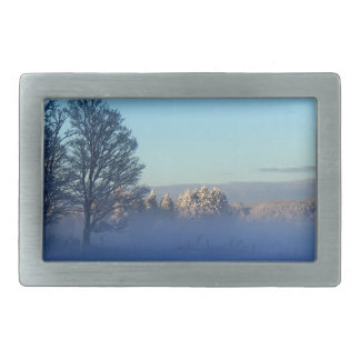 Winter Snow Fog Rectangular Belt Buckles