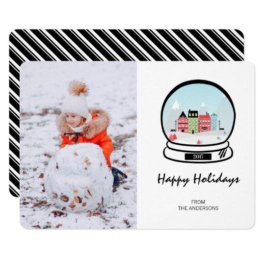 Winter Snow Globe Holiday Photo Card