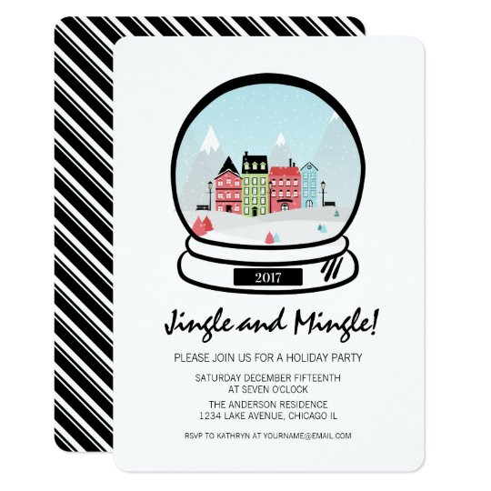 Winter Snow Globe Jingle Mingle Holiday Party Card