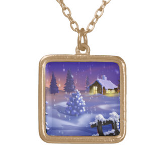 Winter Snow Gold Plated Necklace