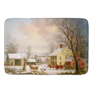 Winter Snow Horse Sleigh Country Store Bath Mat