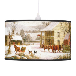 Winter Snow Horse Sleigh Store Hanging Lamp