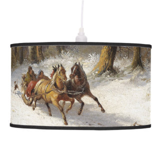 Winter Snow Horses Sleigh Forest Hanging Lamp