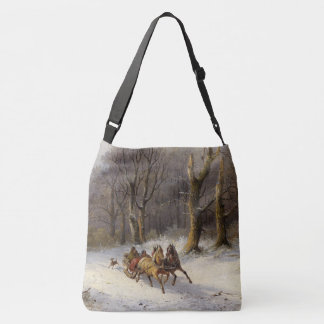Winter Snow Horses Sleigh Ride Trees Tote Bag