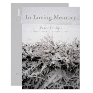 Winter Snow In Loving Memory Funeral Card