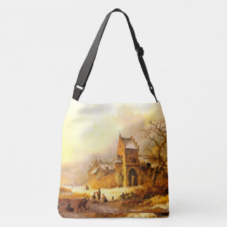 Winter Snow Kids Playing Castle Pond Tote Bag