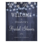 Winter snow lights bridal shower welcome sign