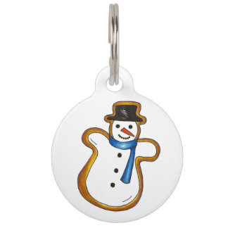 Winter Snow Man Snowman Sugar Cookie Dog Pet Tag