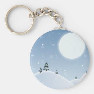 Winter Snow Scene Basic Round Button Keychain