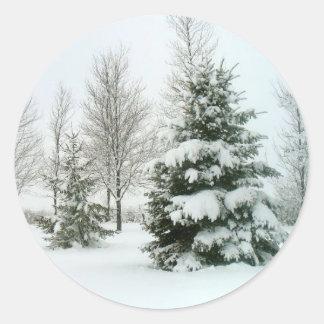 Winter Snow Scene Classic Round Sticker