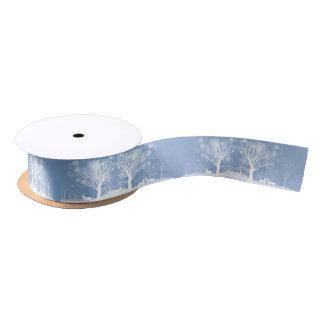 Winter Snow Scene  Deer and Trees Satin Ribbon