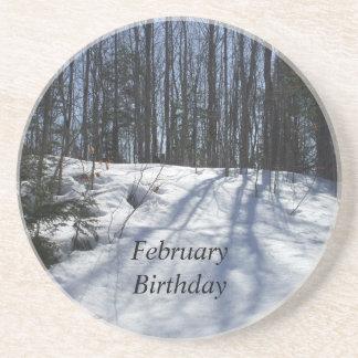 Winter Snow Scene-February Birthday Coaster
