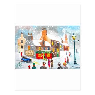 Winter snow scene watercolour painting G Bruce Postcard