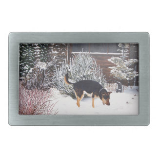 Winter snow scene with cute black and tan dog belt buckles