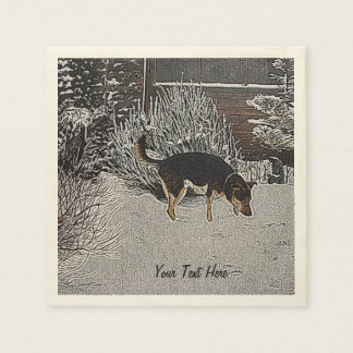 Winter snow scene with cute black and tan dog disposable napkins