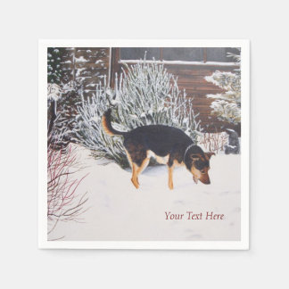 Winter snow scene with cute black and tan dog paper napkins