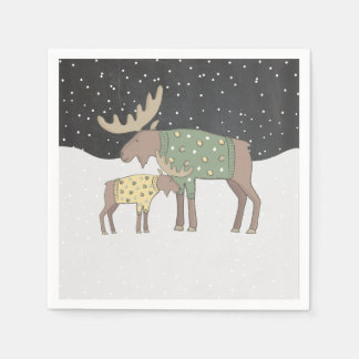 Winter snow Shower mama and baby moose napkins Disposable Napkins