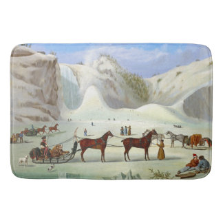 Winter Snow Sled Horse Sleighing Ice Cone Bath Mat