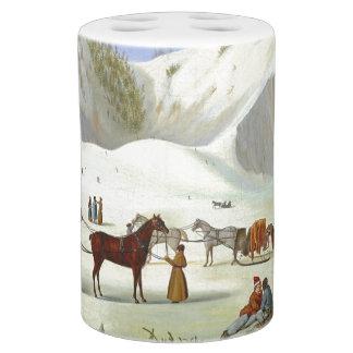 Winter Snow Sledding Horse Sleighs Bath Set