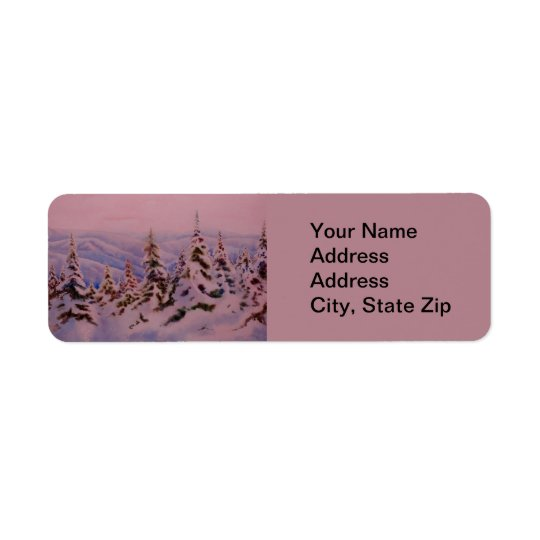 Winter snow with pine tree cold pink sunrise. return address label