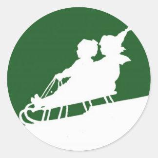 Winter Snow Woodblock Classic Round Sticker