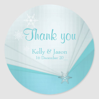 Winter snowflake and turquoise wedding sticker