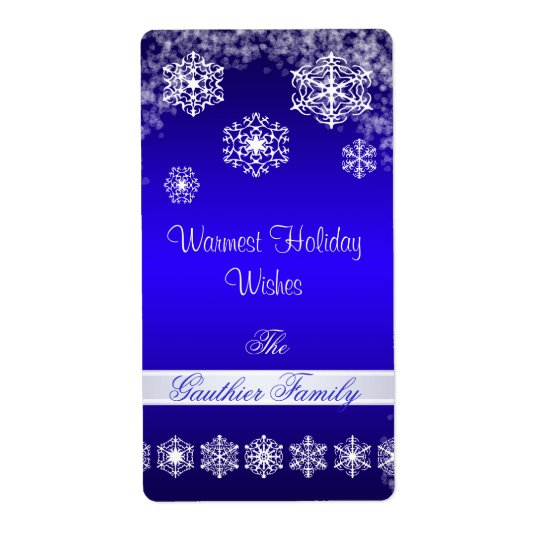 Winter Snowflake Blue Holiday Wine Label