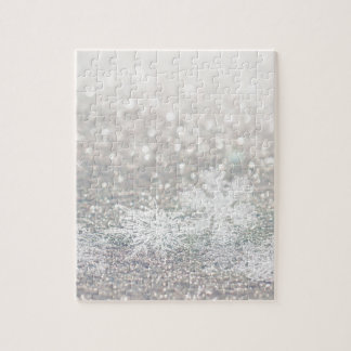Winter Snowflake Bokeh Bling Jigsaw Puzzle