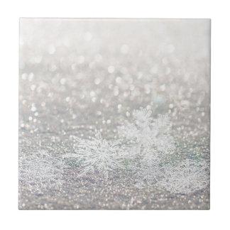 Winter Snowflake Bokeh Bling Tile