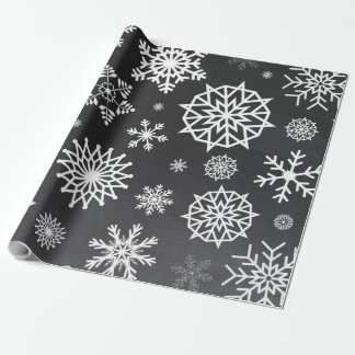 Winter Snowflake chalkboard Gray grey Christmas Wrapping Paper