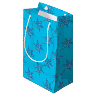 Winter Snowflake Design for Xmas 3 Small Gift Bag